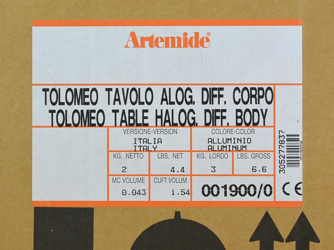 Tolomeo halogeen aluminium bureaulamp doos sticker
